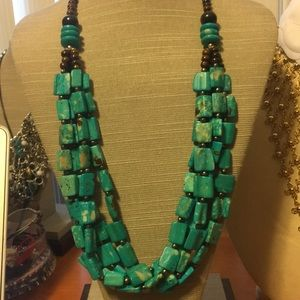 Turquoise chunky necklace multi strands
